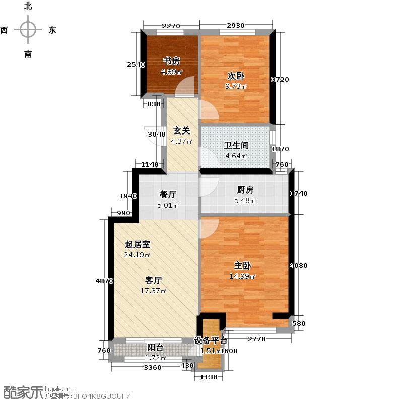 北京城建・上河湾76.76㎡户型3室1卫1厨