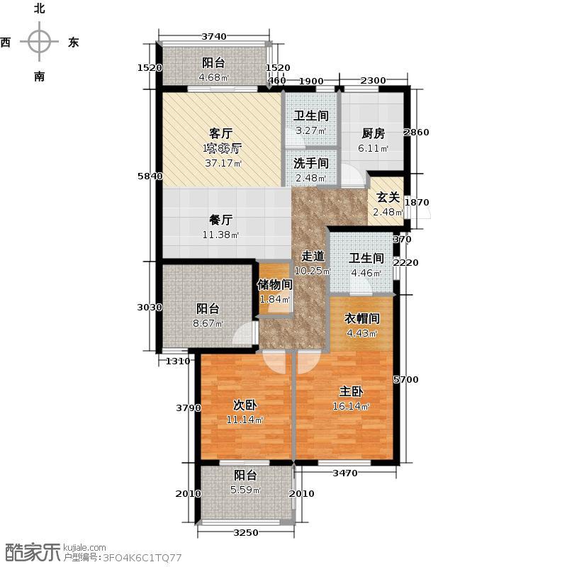 广大同城印象118.01㎡A6户型3室2厅1卫