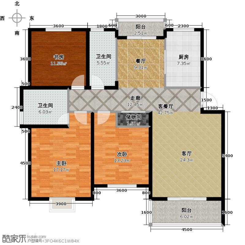 广大同城印象134.19㎡e户型3室2厅2卫