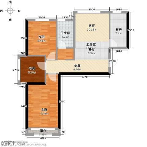 北京城建・上河湾3室0厅1卫1厨92.00㎡户型图