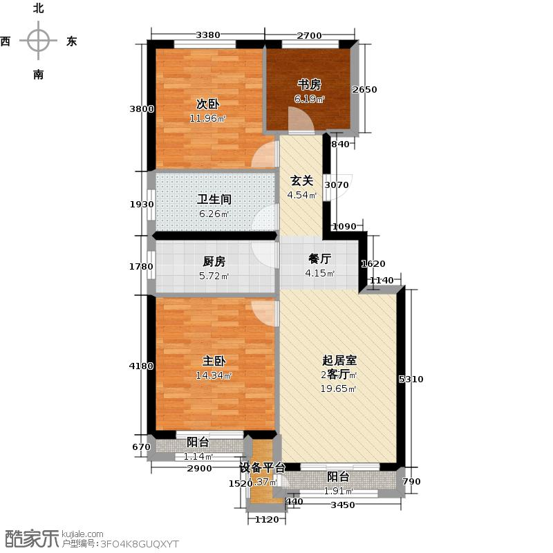北京城建・上河湾85.31㎡户型3室1卫1厨