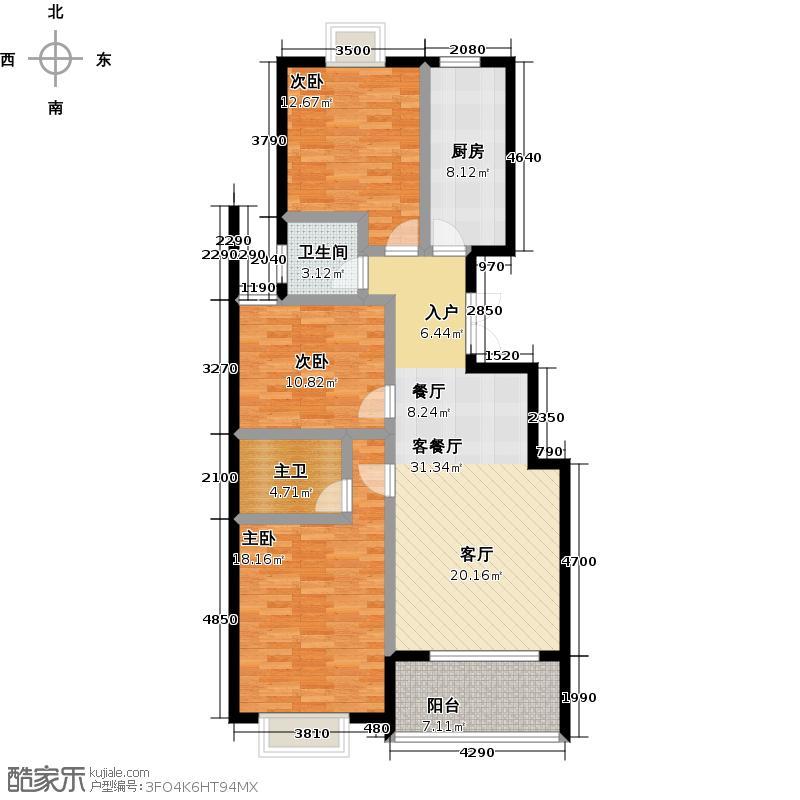 星悦湾111.00㎡A-6A中间套户型3室2厅2卫