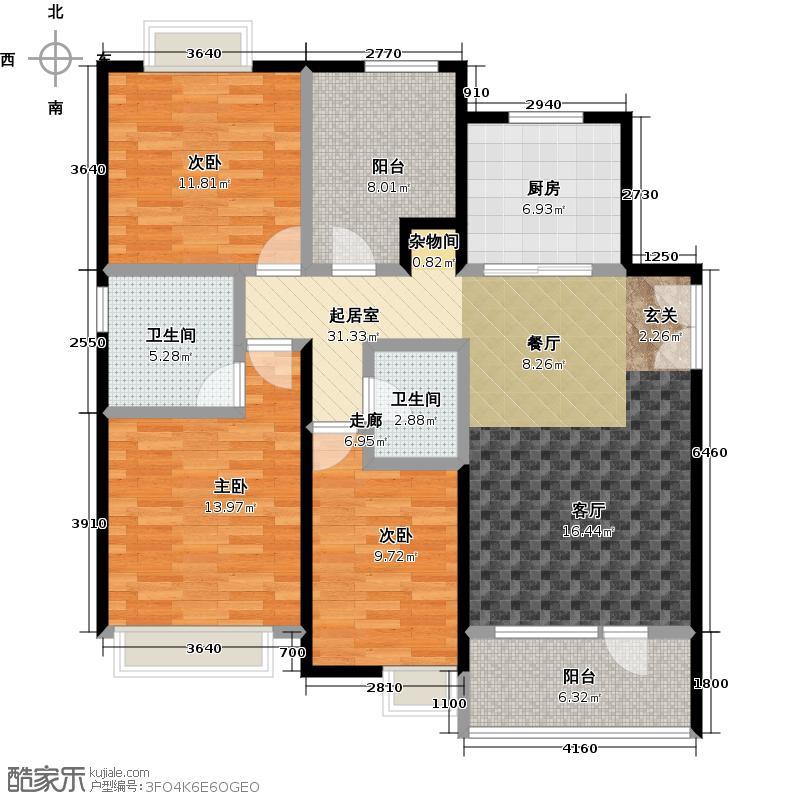 首创・澜茵山115.84㎡C9户型3室2卫1厨