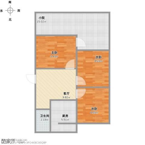 和平新村3室1厅1卫1厨80.00㎡户型图