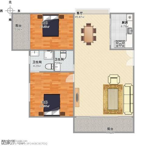 国贸花园2室1厅2卫1厨138.00㎡户型图