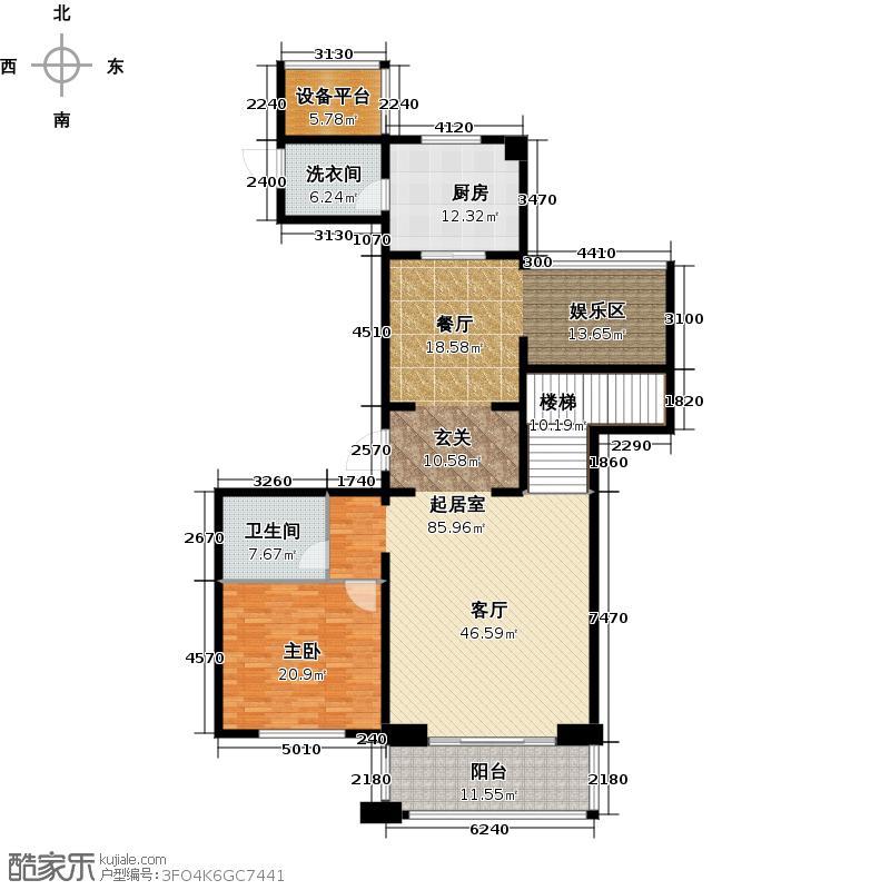 金地天逸185.00㎡7号楼E3跃层下层户型5室2厅3卫