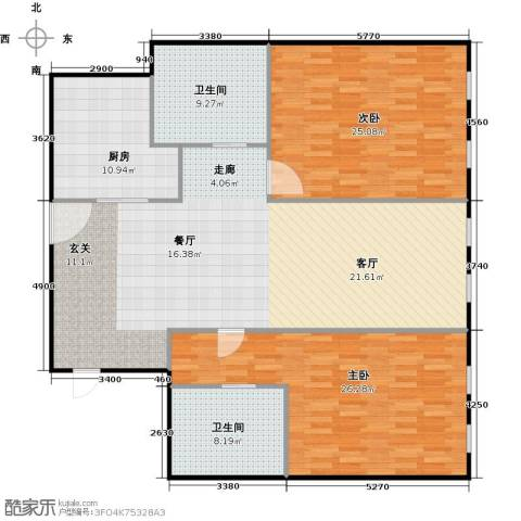 百大绿城西子国际2室2厅2卫0厨134.00㎡户型图
