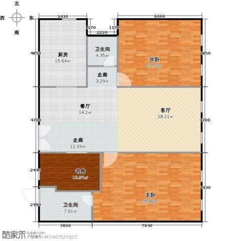 百大绿城西子国际3室2厅2卫0厨166.00㎡户型图