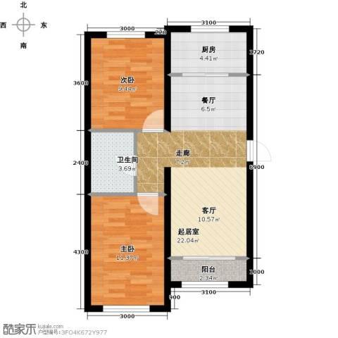 纳帕澜郡2室0厅1卫1厨90.00㎡户型图
