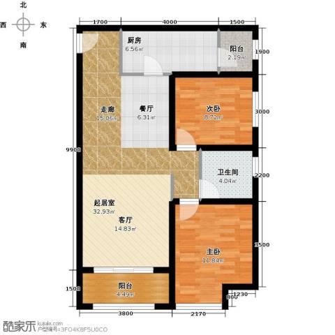 华业东方玫瑰2室0厅1卫1厨90.00㎡户型图