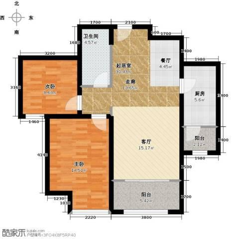 华业东方玫瑰2室0厅1卫1厨87.00㎡户型图