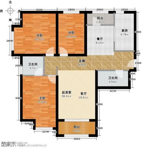 华业东方玫瑰3室0厅2卫1厨130.00㎡户型图