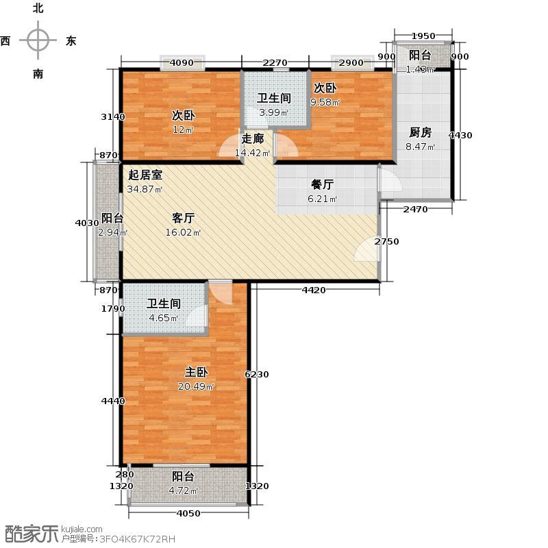 瑞雪春堂124.25㎡C11户型3室2卫1厨