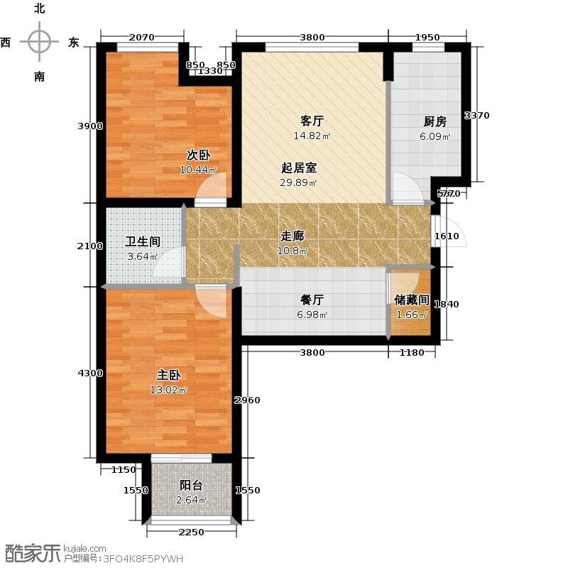 华业东方玫瑰89.00㎡C3户型2室1卫1厨