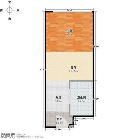 百大绿城西子国际1室1厅1卫0厨51.00㎡户型图