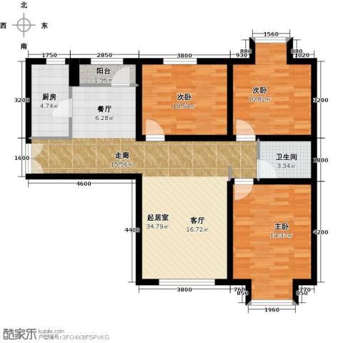 华业东方玫瑰3室0厅1卫1厨111.00㎡户型图