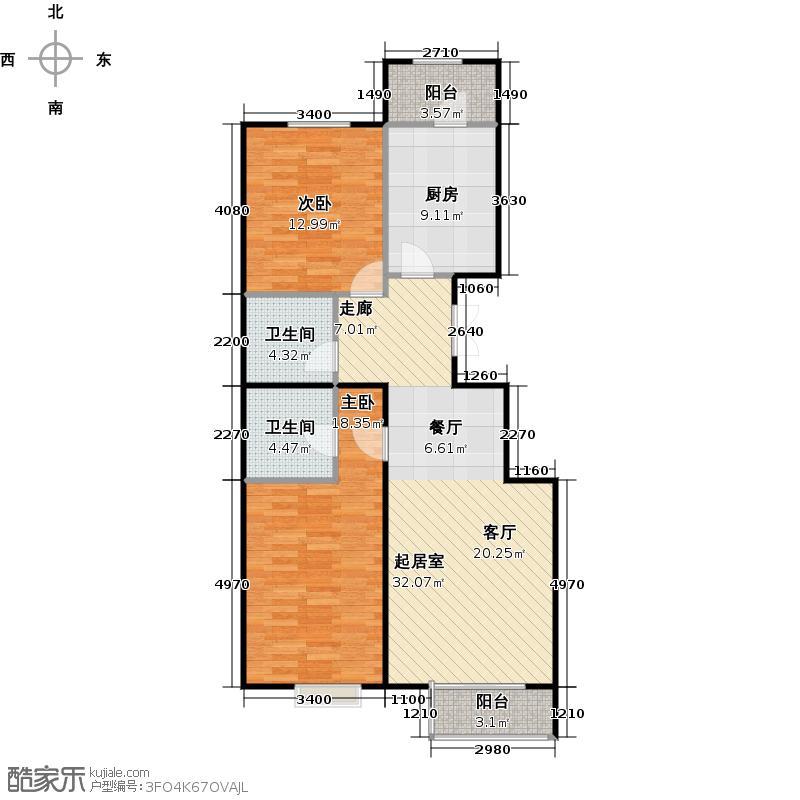 瑞雪春堂108.80㎡27号楼B24户型2室2卫1厨