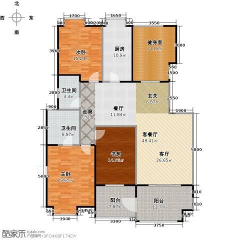 益田影人四季花园3室1厅2卫1厨155.07㎡户型图