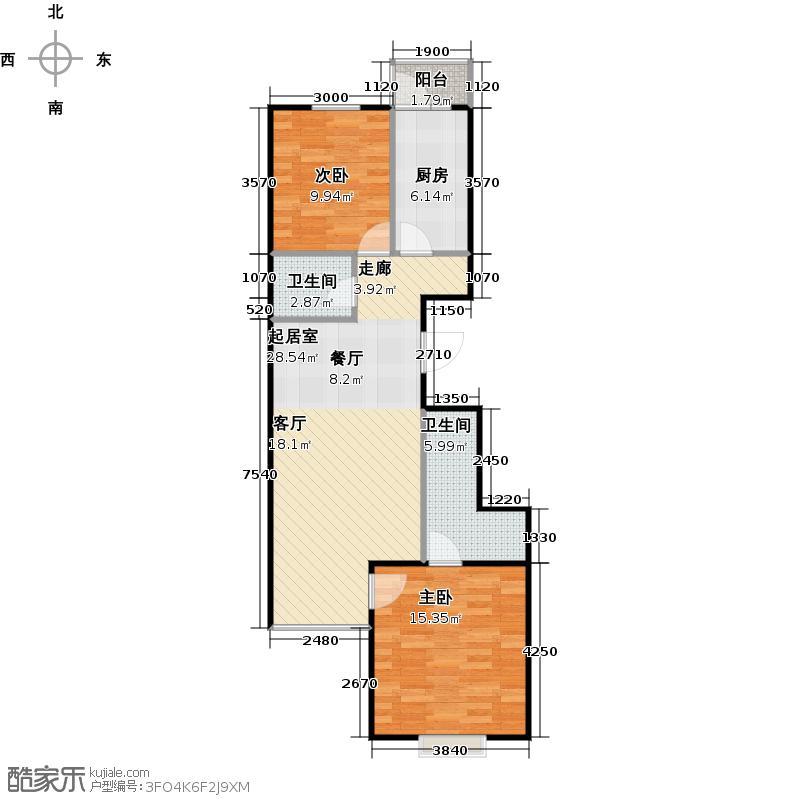 瑞雪春堂88.21㎡28号楼B21户型2室2卫1厨