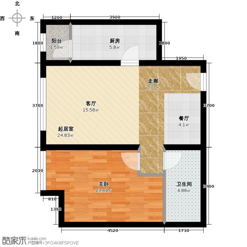 华业东方玫瑰67.00㎡C10-04户型1室1卫1厨
