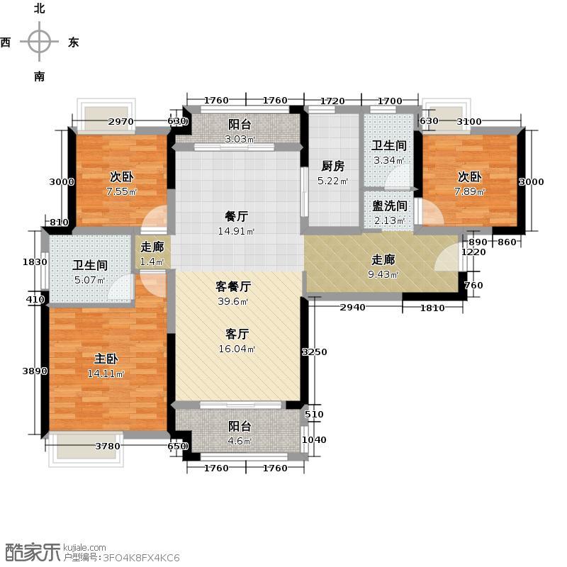 中海锦城123.00㎡1街7/9栋2街15栋02单位户型3室1厅2卫1厨