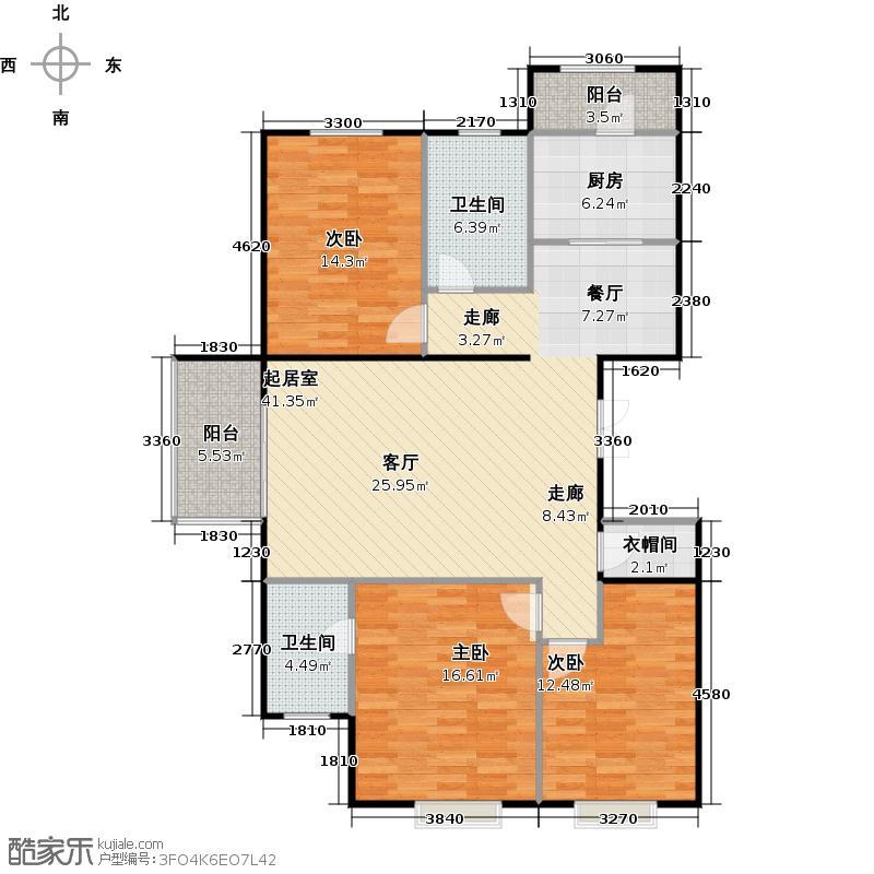 瑞雪春堂135.59㎡27号楼C13户型3室2卫1厨