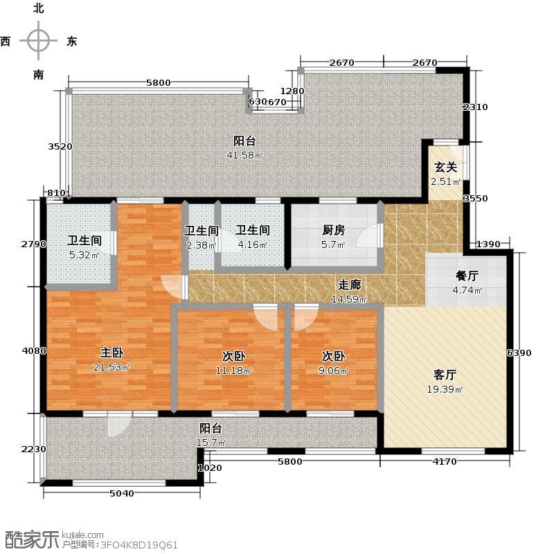 中国铁建・花语城126.00㎡3-J6户型3室2卫1厨