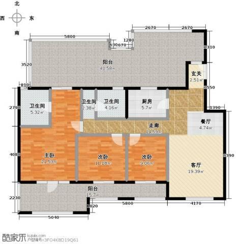 中国铁建・花语城3室0厅2卫1厨153.35㎡户型图