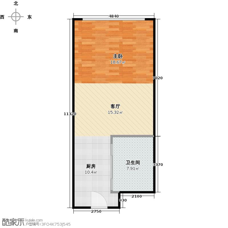 百大绿城西子国际53.00㎡3号楼A1户型1室1厅1卫