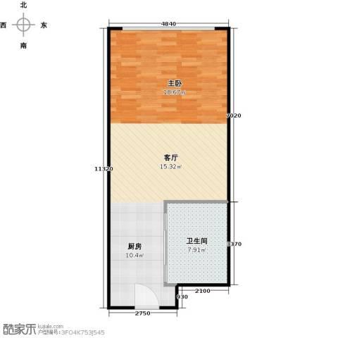 百大绿城西子国际1室1厅1卫0厨53.00㎡户型图