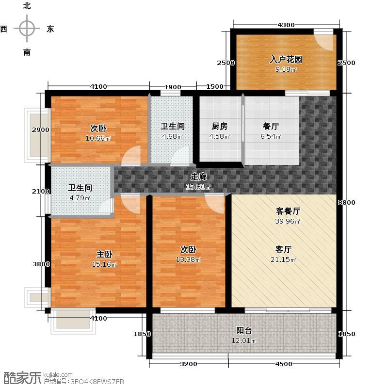 海逸锦绣誉峰135.00㎡3/4座02/03单位户型3室1厅2卫1厨