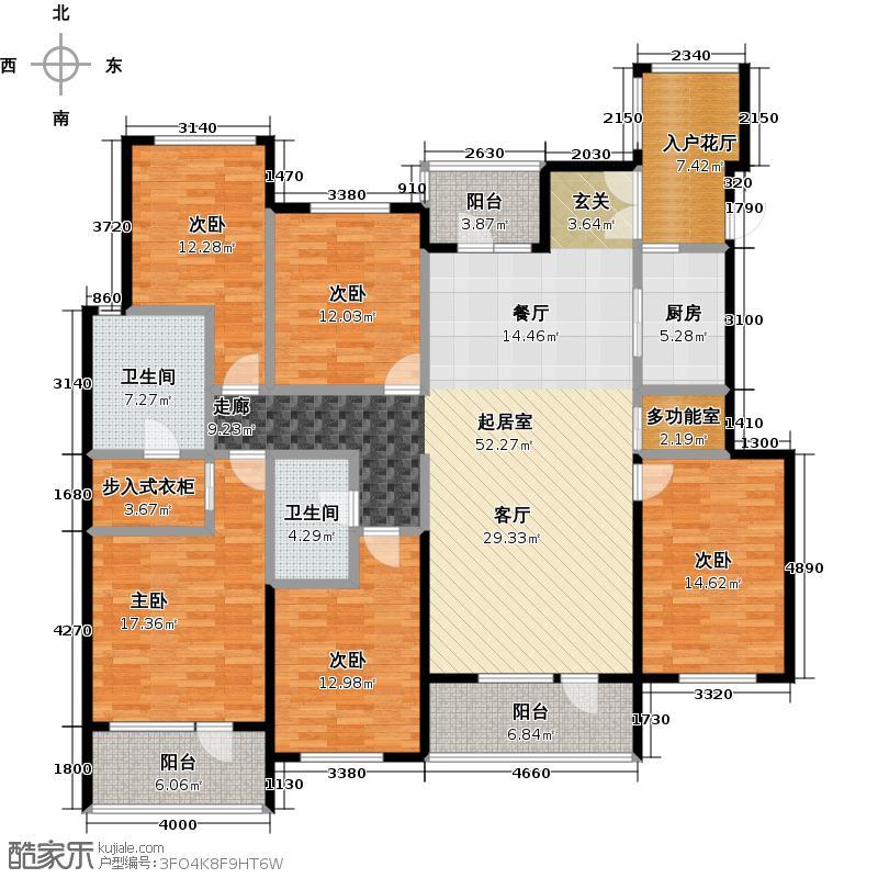金融街・金色漫香苑190.00㎡户型5室2卫1厨