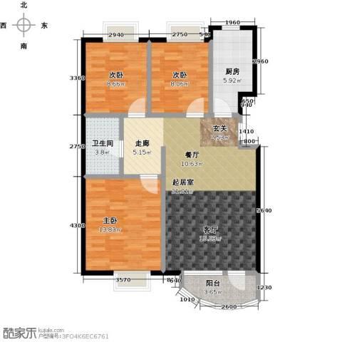 首创・澜茵山3室0厅1卫1厨97.00㎡户型图