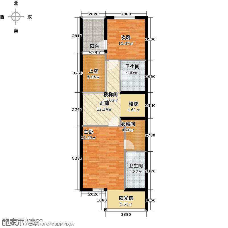 尚东庭82.29㎡A区A3号楼2单元二层户型2室2卫