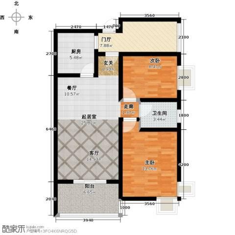 上上城2室0厅1卫1厨88.00㎡户型图