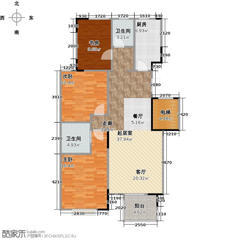 万均・九月庭院121.00㎡户型3室2厅2卫