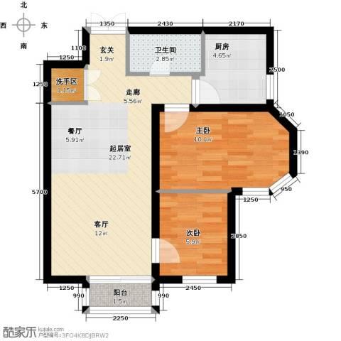 首开・国风美仑2室0厅1卫1厨76.00㎡户型图