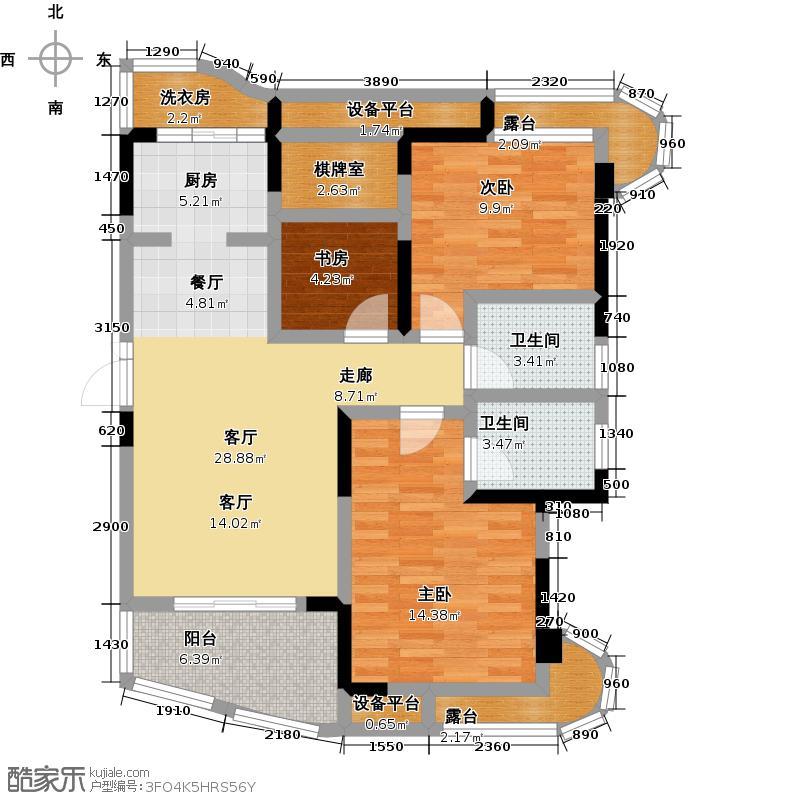五矿万境水岸111.44㎡6、10号栋户型3室1厅2卫