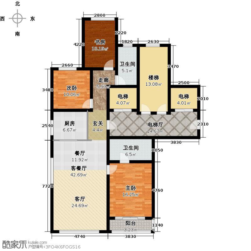 绿城西溪诚园147.00㎡C-1户型3室2厅2卫