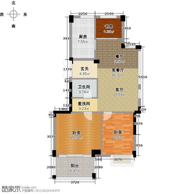 铂金名筑89.00㎡2、3、4号楼奇数层户型3室2厅1卫