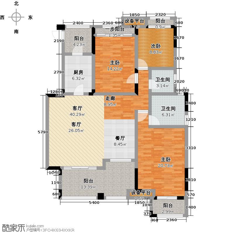 泽科港城国际锦云香缇140.15㎡B3-2双卫户型3室1厅2卫1厨