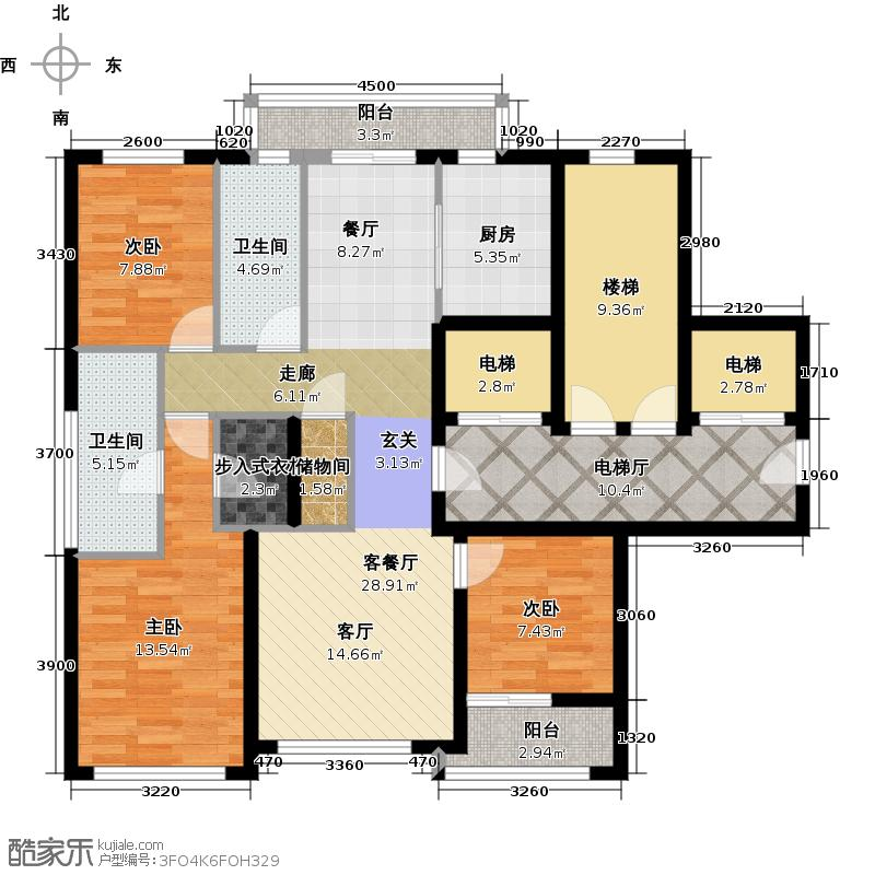 绿城西溪诚园163.00㎡B户型3室2厅2卫
