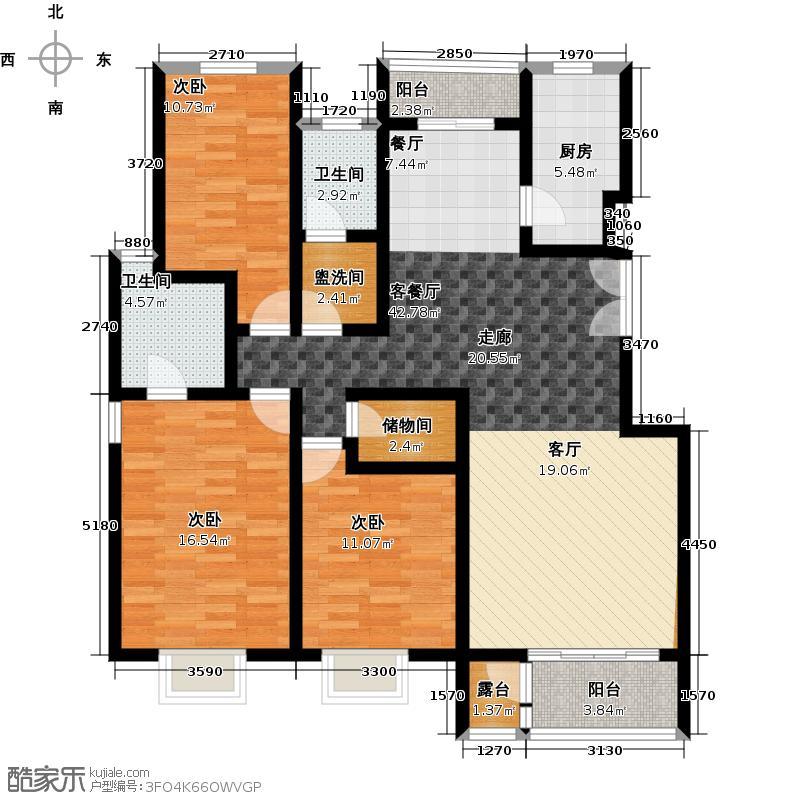 水墨林溪124.52㎡C3户型3室1厅2卫1厨