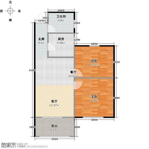 丁桥颐景园2室0厅1卫1厨74.00㎡户型图