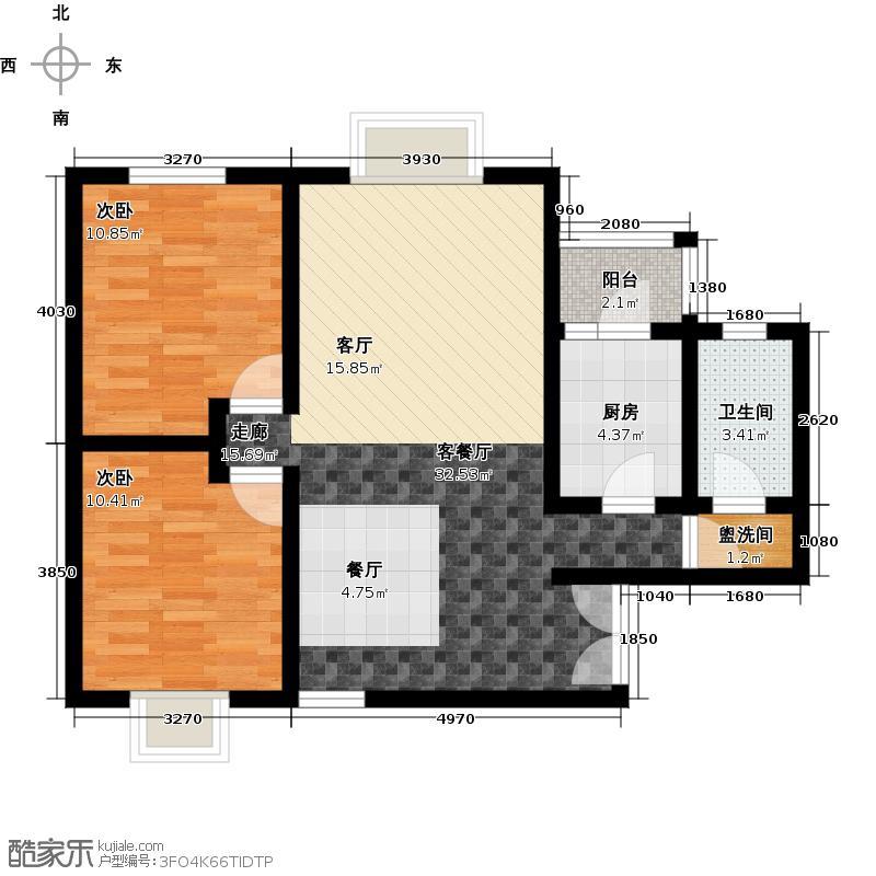 水墨林溪75.39㎡二期B2户型2室1厅1卫1厨