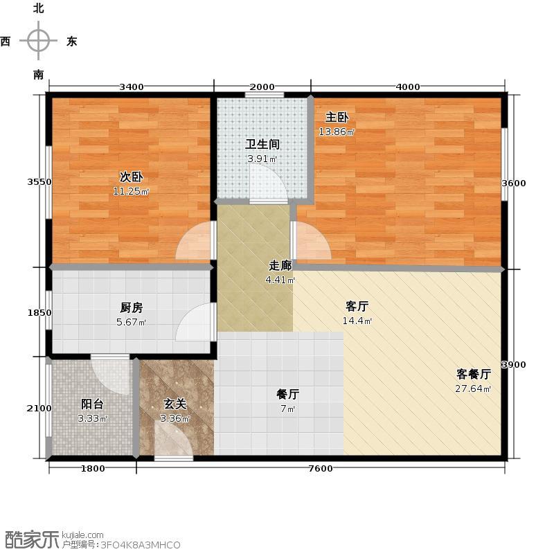 鸿坤・理想城86.00㎡(售罄)户型2室1厅1卫1厨