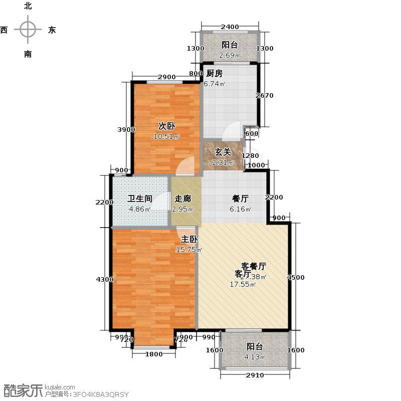 鸿坤・理想城93.00㎡6号楼A1反户型2室1厅1卫1厨
