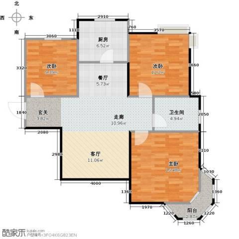 丁桥颐景园3室0厅1卫1厨88.00㎡户型图