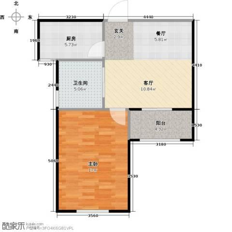 丁桥颐景园1室1厅1卫1厨54.00㎡户型图