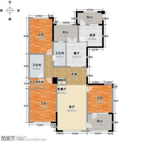 绿城玉兰花园3室1厅2卫1厨183.00㎡户型图